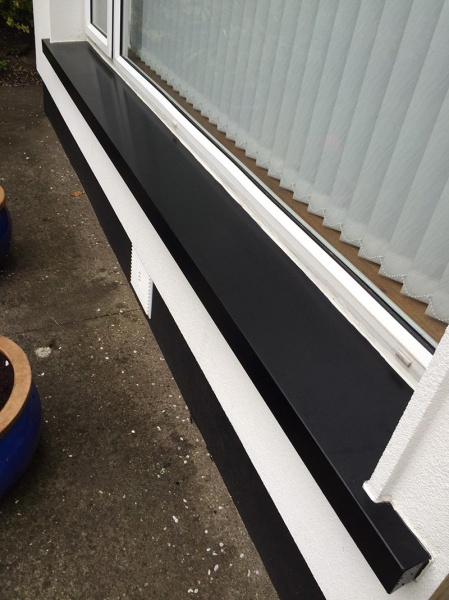 Here We Have Coloured Coated Window Sill In Black And Ivory Can Use Any Ral Color Our Powder Coating Process All Aluminum Sills Are